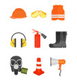 flat set of safety equipment protective vector image vector image