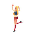 girl in 1990s style clothes dancing at retro disco vector image vector image