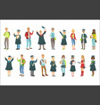 graduating students in black mantle set vector image vector image