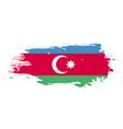 grunge brush stroke with azerbaijan national flag vector image vector image