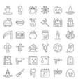 halloween icon set elements thin line design vector image