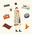 happy male character in hipster clothing wrapped vector image