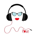 Headphones with red cord Sunglasses and lips Love vector image vector image