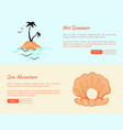 hot summer sea adventures web banners with island vector image vector image
