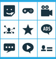 internet icons set with game chat favorite and vector image vector image