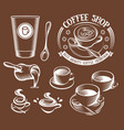 isolated brown color cup in retro style logos set vector image vector image