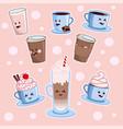 kawaii coffee set various cute cafe drinks vector image