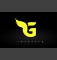 letter g logo with yellow colors and wing design vector image