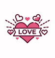 love lettering on heart valentine day symbol vector image vector image