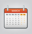 march 2018 calendar concept background cartoon vector image