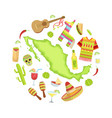 mexico travel sights and symbols round shape vector image