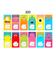 monster vertical monthly calendar 2019 cute funny vector image vector image