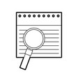 notebook sheet with magnifying glass vector image vector image