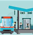 people wait for a train at train station platform vector image vector image