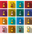 Sand Clock Icons Set Flat Design Long Shadow Retro