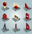 school color gradient isometric icons vector image