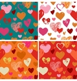 Seamless red hand drawn doodle pattern with hearts vector image