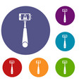 selfie stick with mobile phone icons set vector image vector image
