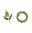 set olives fruit olive branch and rosemary wreath vector image vector image