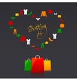 shopping bags and clothes heart vector image