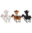 Sketches of a man riding a horse vector image vector image
