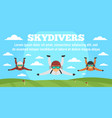 sport skydivers concept banner flat style vector image vector image