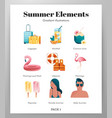 summer elements icon pack vector image