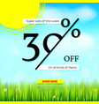 summer sale get up thirty percent discount vector image vector image