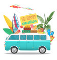 summer travel with vintage bus vector image