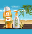 sun screen and lotion uv protection vector image