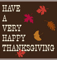 thanksgiving typography with falling leaves vector image vector image