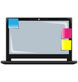 the laptop with stickers vector image