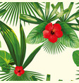 tropical leaves seamless hibiscus white background vector image vector image