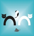 Two abstract black and white cats vector image