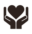 two hands holding heart - conceptual design vector image