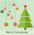 vintage christmas card with tree and balls xmas vector image
