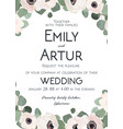 wedding invitation floral invite card watercolor vector image