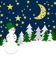 Winter Night Forest Landscape with Snowman Holiday vector image