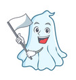 with flag cute ghost character cartoon vector image vector image