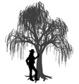 young woman leaning on weeping willow tree vector image vector image