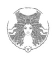 zodiac sign portrait of a woman taurus vector image vector image