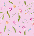 floral seamless pattern with watercolor tulips vector image