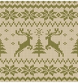 Seamless Knitted Pattern with Deers vector image