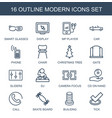 16 modern icons vector image vector image