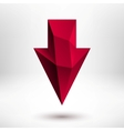 3d Red Down Arrow Sign with Light Background vector image