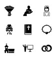 9 line filled icons set isolated on white vector image vector image