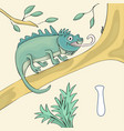 alphabet letter i and iguana abc book vector image
