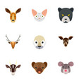animal head icon set flat style vector image