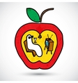 Apple with a worm in doodle style vector image vector image