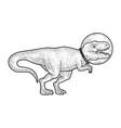 astronaut cartoon tyrannosaurus sketch vector image